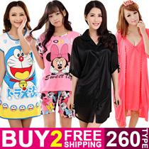Buy 2 Free Shipping Cute Cartoon Sleepwear Women Silk Pajamas Dress Short Sleeve Nightdress