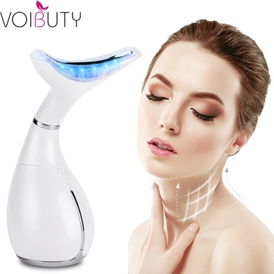 wholesale LED Photon Light Heating Therapy Facial Neck Massager Double Chin  Neck Facial Sagging Wrin