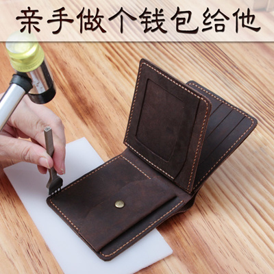 New 30 Percent Handmade Wallets Men S Retro Leather Wallet Pure Hand Sew Diy Leather Driving License