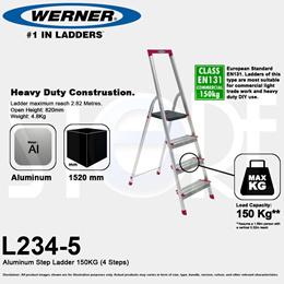 Werner Domestic Aluminium Family Platform Ladder 4 Steps L234R-5 5 Steps L235R-2 6 Steps L236R-2