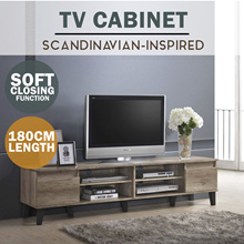 SO Cevo 6ft / 1.8m 2 Doors TV Cabinet / TV console / Tv Rack (Light Oak/Wenge)