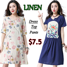 【23/4】Linen national art style traditional dresses/plus size/Maternity Dress/pants/shorts/top