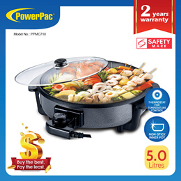 PowerPac Steamboat 5L Multipurpose cooker pot with Non-stick inner pot (PPMC718)