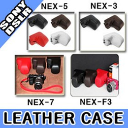 ★BIG SALE★SONY NEX Leather Half Case + Cover + Strap (4 Colors) For SONY NEX-7 NEX-F3 NEX-5N NEX-C3 NEX-5 NEX-3 / Free shipping