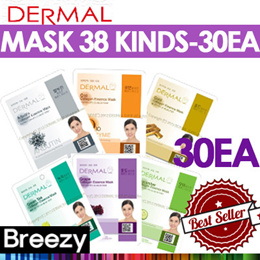 BREEZY ★ 30EA SET! [DERMAL Cosmetic] Dermal Collagen Essential Essential Mask 30EA / 38 kinds / Made