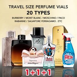 1+1+1 Perfume Travel Vial Burberry Sheer Mont Blanc Legend Legend Night Mr Burrberry etc