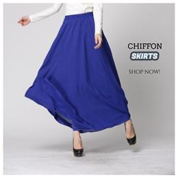[SG SELLER] WIDE HEM CHIFFON LYCRA SKIRT Ladies Long Fashion Maxi Dress Muslimah