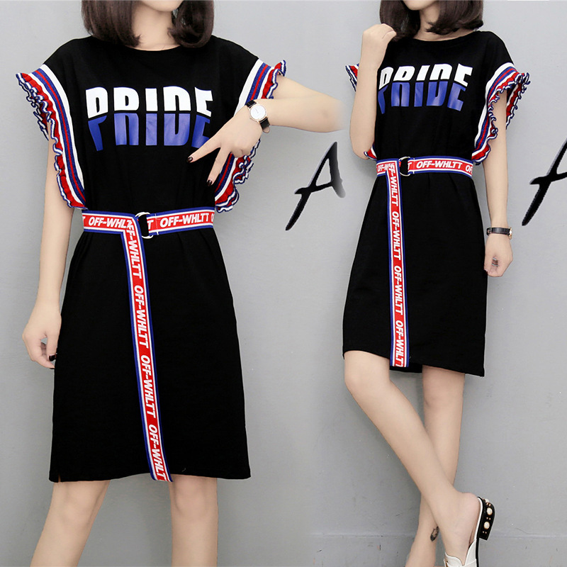 2017新品  韓国ファッション ワンピース   レディース 人気  フレア袖   ワンピース 大きいサイズ   ベルト  付き ミディアム スカート /流行 上質/XL-4XL   D7061630
