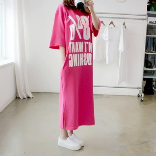 ポンジェイ58パクシロングワンピース3colorF、XL 綿ワンピース/ 韓国ファッション