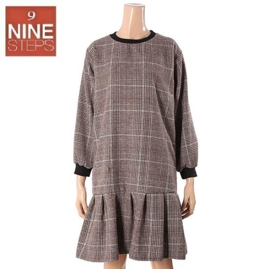 ナインステップマーブリングチェックシボリOPSN17NO7406R 面ワンピース/ 韓国ファッション
