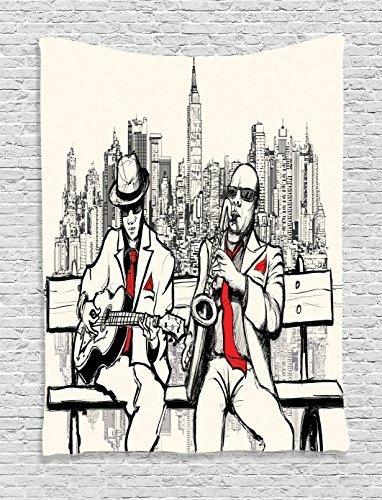 Jazz Music Decor Tapestry By Ambesonne, Jazz Men Band Playing Beats In New  York At Night Retro Style