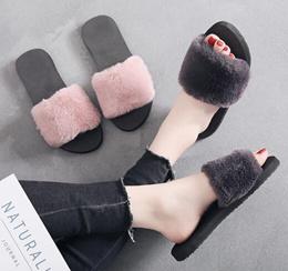 毛毛鞋女秋冬季2019新款韩版室内毛绒拖鞋平底居家时尚防滑一字拖