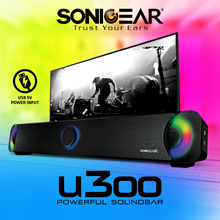 [FREE QXQUICK Delivery] SONIC GEAR U300 Powerful Soundbar Brilliant LED Light Effects / 5V Power Input / Mic Input / 7 Pulsating LEDs. Enhanced Your TV Sound Now! Local 12 Months Warranty!