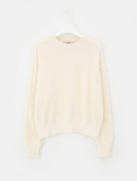 8SECONDS Solid Cropped Round Neck Pullover - Ivory