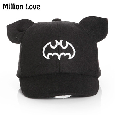 cd2d39ec937 2017 Million Love Baby kids Batman baseball hat children boy girl Ear wool  cap Autumn Winter
