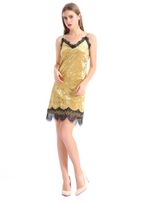 Europe style lady short dress gold color lace edge vneck (dr26)