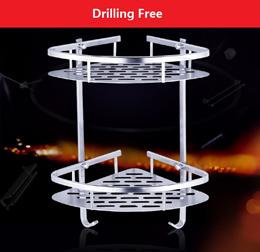 Drilling Free / Aluminium Shelf/ Corner shelf /Kitchen or toilet shelf/Bathroom shelf