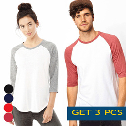 [ GET 3 PCS  ] MEN AND WOMEN RAGLAN T SHIRT / LONG SLEEVE / HALF SLEEVE / FULL COLOUR AVAILABLE