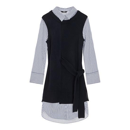 ボブ衣類・ストライプニットレイヤードワンピース7117437910 面ワンピース/ 韓国ファッション