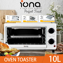 IONA GL104 10L Oven Toaster w temperature control / tempered glass door / removable oil drip tray