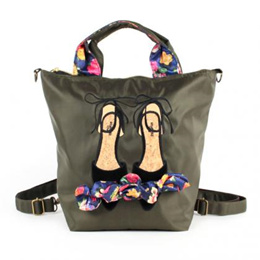 B-6640 Mis zapatos flower ribbons 3way bag - Khaki