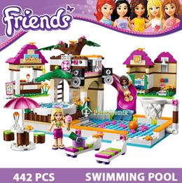 Building Blocks Set Compatible  Friends 442 Pcs 2 Toy Figures DIY Swimming Pool Brinquedos Bricks Toys for Girls