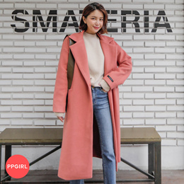 PPGIRL_D099 러블리 wool coat / long coat / loose fit / basic outer / pocket / casual