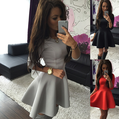 08e3e65e4f2f Fashion Women 3 4 Sleeve Winter Evening Party Bodycon Slim Mini Skater Dress  Hot