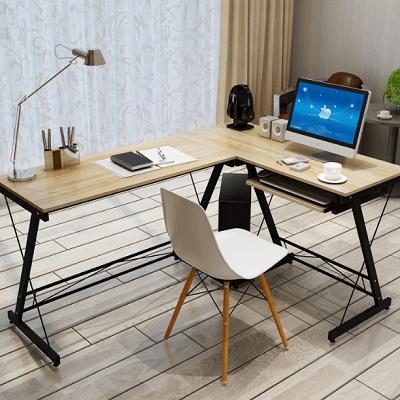 L-Shape Wooden brown Modern Design Furniture Computer Table Study L Shape  Shelf Desk meja pejabat