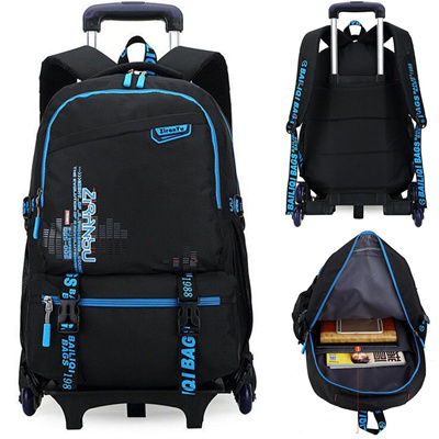 362d70f61f48 Fashion Trolley School Bag With 6 Wheels Boys Girls Children Backpack  Rucksack Bookbag Gift