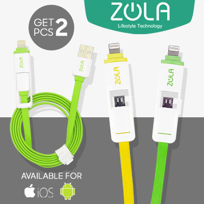Zola International ZLine 2 in 1 Micro USB Iphone Lightning Data Cable Deals for only Rp40.000 instead of Rp40.000