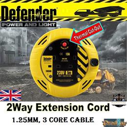 DEFENDER 13AMP MINI CASSETTE REEL / REEL CASSETTE / DEFENDER / 5 METRE LONG / 10 METRE LONG