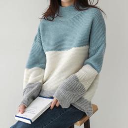 [CHICHERA] Korean fashion NO.1 / Half turtleneck long knit