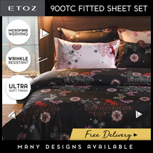 [ETOZ] 5 NEW DESIGNS! 900 TC Fitted Sheet Set★Other Colours And Designs Available★Printed Bedsheets