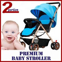 PREMIUM BABY STROLLER / 3 SECOND FOLDABLE / 2 COLOURS / COMFORTABLE AND 175 DEGREE BENDABLE