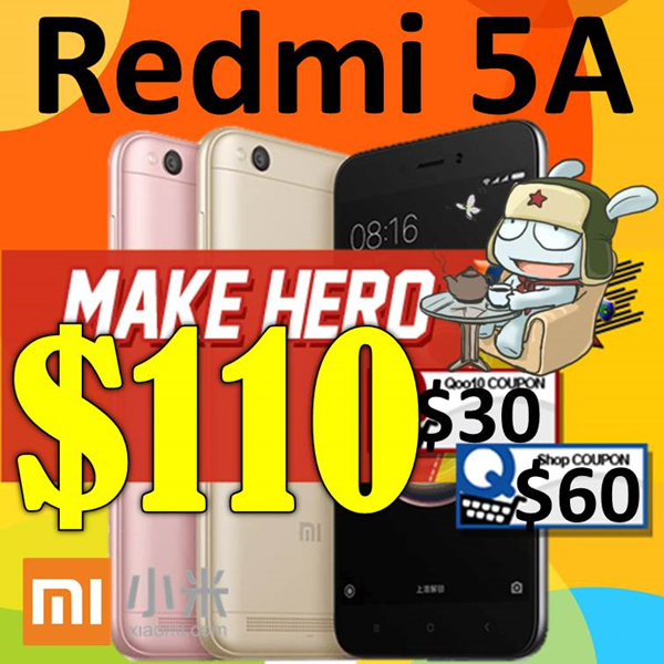 Xiaomi Redmi 5A GLOBAL ROM Export Set Deals for only S$229 instead of S$0