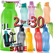 TUPPERWARE Eco Water Bottle Screw Cap / Fliptop 1L 1000ml Pouch Strap School Bottle Bag Sport