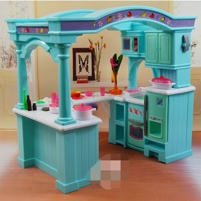 Qoo10 Barbie Kitchen Set With A Large Variety Of Food To Childrens Play Toy Furniture Deco