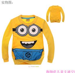 outlet 1pcs/lot 2018 cartoon minion boys clothes girls nova shirts child Spring hoodies Tops amp Te