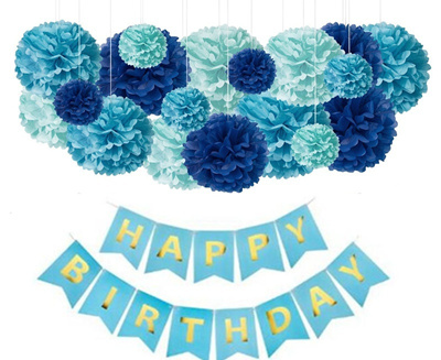 Blue Birthday Decorations For Party 18 Tissue Paper Pom Balls And 1 Happy