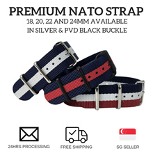Premium Nato Strap in 18mm 20mm 22mm and 24mm - (Free Local Postage)