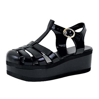 Womens Platform Sandals Jelly Adjustable Strap Casual Comfort Shoes Black