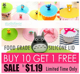 SALE [10+1 FREE] Fr.$1.19. Food Grade Silicone Cup Cover / Lids. Cartoon/ Interesting Gift ideas