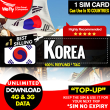 Korea Sim card:(KT/SK Telecom)  highspeed 4G LTE UNLIMITED Data 8/10/14 days.FREE 0.4GB  DATA
