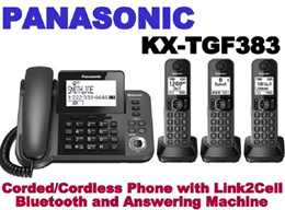 PANASONIC Corded/Cordless Phone with Link2Cell Bluetooth and Answering Machine KX-TGF383M
