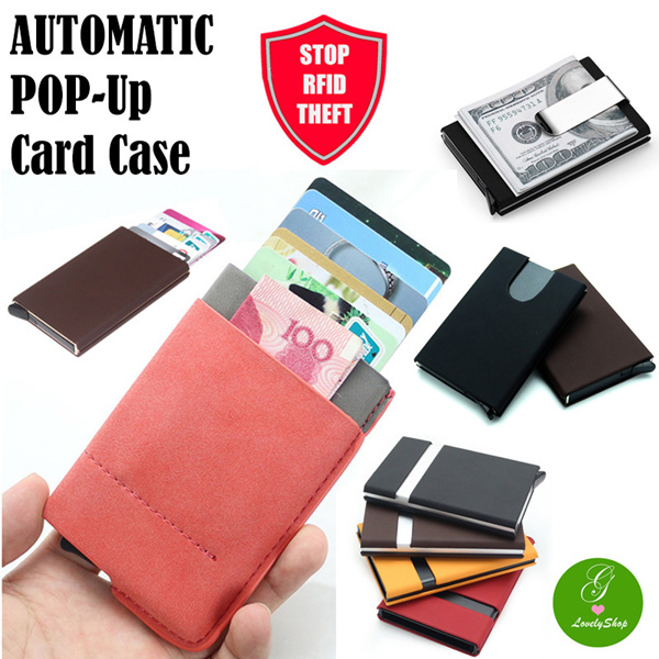 Qoo10 SPONSORED PROMO! RFID Protection Automatic Pop-up Slim Card Case Holder Sleeve Anti Theft Deals for only S$21.9 instead of S$0