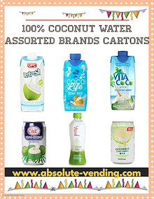 100% Coconut Water Assorted Brands. (Can/Tetra/Bottle) *FREE DELIVERY*