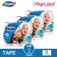 [New] Drypers Wee Wee Dry Tape Diaper S82+4/M74+4/L62+4/XL50/XXL40 ( 3 Pack )
