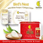NEW MOON Bird's Nest with White Fungus Rock Sugar 6 x 150ml + Bird Nest Collagen Strips 6 x 150ml
