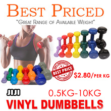 Vinyl Dumbbells 0.5kg - 5kg | Vinyl Anti Slip Coat | Rubber Coated  | 0.5kg - 10kg |Female Dumbbell
